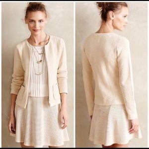 Anthropologie soft cream jacquard jacket size XL